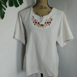 Vintage Embroidered Peasant Pull Over Top